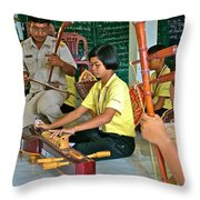 Students Playing Traditional Thai Instruments In Music Class At  Baan Konn Soong School In Sukhothai Throw Pillow