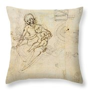 Studies For A Virgin And Child And Of Heads In Profile And Machines, C.1478-80 Pencil And Ink Throw Pillow