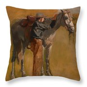 Study For Cowboys In The Badlands Throw Pillow