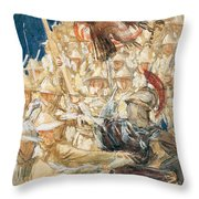 Study For The Coming Of The Americans Throw Pillow
