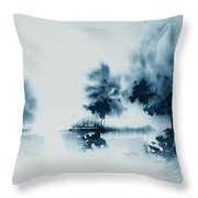 Study In Indigo Throw Pillow