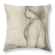 Study Of A Young Girl At The Piano Throw Pillow