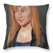 Study Of A Young Woman In A Black Sweater Throw Pillow
