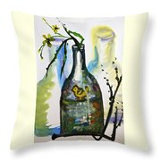 Study - Yellow Ducky In  Bottle Throw Pillow