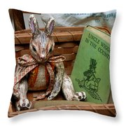 Stuffed Rabbit And Uncle Wiggly Book Throw Pillow by Amy Cicconi