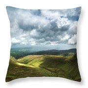 Stunning Large Panorama Landscape Of Brecon Beacons View From Pe Throw Pillow