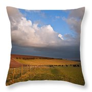 Stunning Scene Across Escarpment Countryside Landscape With Bea Throw Pillow by Matthew Gibson