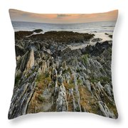 Stunning Vibrant Rock Formation Against Ocean And Beautiful Suns Throw Pillow
