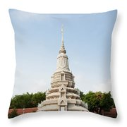 Stupa At The Silver Pagoda, Cambodia Throw Pillow