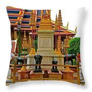 Stupa Surrounded By Elephants At Grand Palace Of Thailand In Ban Throw Pillow