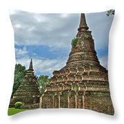 Stupas Of Wat Mahathat In 13th Century Sukhothai Historical Park-thailand Throw Pillow