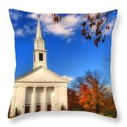 Sturbridge Church In Autumn Throw Pillow