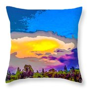 Stylised Sunset Throw Pillow
