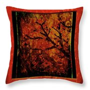 Stylized Cherry Tree With Old Textures And Border Throw Pillow