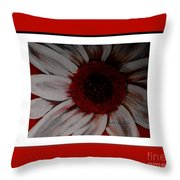 Stylized Daisy With Red Border Throw Pillow