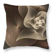 Stylized Philodendron Sepia Throw Pillow