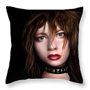 Styrofoam Wig Head With Face Throw Pillow