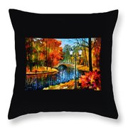 Sublime Park - Palette Knife Oil Painting On Canvas By Leonid Afremov Throw Pillow