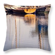 Subtle Colored Marina Reflections Throw Pillow
