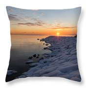 Subtle Pinks And Golds And Violets In A Bright Sunrise Throw Pillow