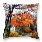 Suburban Street In Autumn Throw Pillow