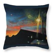 Suburban Sunset Oil On Canvas Throw Pillow