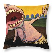 Suburban Tarpit Throw Pillow by James W Johnson