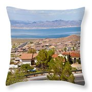 Suburbs And Lake Mead With Surrounding Throw Pillow