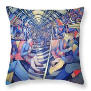 Subway Nyc, 1994 Oil On Canvas Throw Pillow