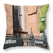 Subway Station In Brooklyn Throw Pillow