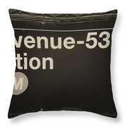 Subway Station Sign Throw Pillow