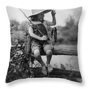Successful Day Of Fishing  1919 Throw Pillow by Daniel Hagerman