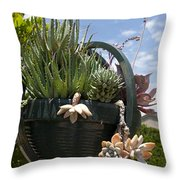 Succulents In A Planter Throw Pillow