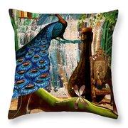 Suck My Peacock Throw Pillow