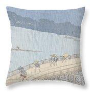 Sudden Shower On Ohashi Bridge At Ataka Throw Pillow by Ando Hiroshige
