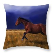 Galloping Horse Painting Throw Pillow