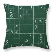 Sudoku On A Chalkboard Throw Pillow