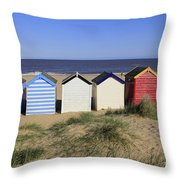 Suffolk Beach Huts Throw Pillow