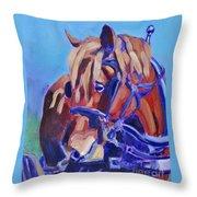 Suffolk Punch Draft Horse Plow Match Throw Pillow