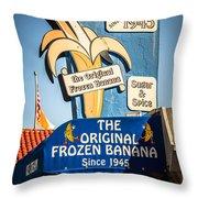 Sugar And Spice Frozen Banana Sign On Balboa Island Throw Pillow