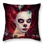 Sugar Doll Red Throw Pillow