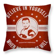 Sugar Ray Robinson - Red Throw Pillow