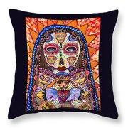 Sugar Skull Angel Heart' Throw Pillow