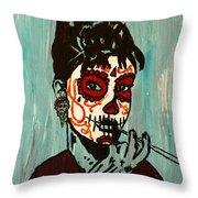 Sugar Skull Audrey Throw Pillow