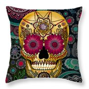 Sugar Skull Paisley Garden - Copyrighted Throw Pillow by Christopher Beikmann