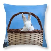 sugar the easter bunny 4 - A curious and cute white rabbit in a hand basket  Throw Pillow