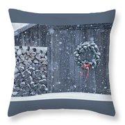 Sugarhouse At Christmas Throw Pillow
