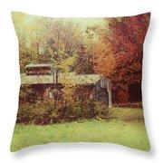 Sugarhouse In Autumn Throw Pillow