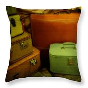 Suitcases In The Attic Throw Pillow