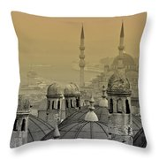 Suleymaniye Mosque And New Mosque In Istanbul Throw Pillow